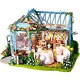 Fsolis DIY Dollhouse Miniature Kit with Furniture, 4D Wooden Miniature House with Dust Cover and Music Movement, Miniature Do