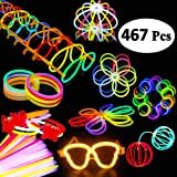 BUDI 467Pcs Cool Light Up Toys Glow Party Favours for Kids/Adults: 200 Glowsticks Party Packs 7 colours+ Connectors for Neckl