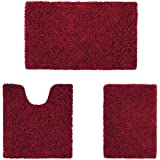 HOMEIDEAS Microfiber Absorbent Bath Rug, Chenille Washable Floor Mat -Non Slip Soft Carpet Modern Burgundy