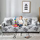 Bikuer Printed Sofa Cover Stretch Couch Cover Sofa Slipcovers for 3 Cushion Couch with 2 Free Pillow Case (Sofa, Silver Leave