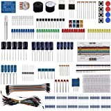 Keywishbot Electronic Component Base Fun Kit Bundle with Breadboard Cable Resistor,Capacitor,LED,Potentiometer for Arduino De