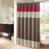 Madison Park MP70-221 Monroe Shower Curtain, 72 x 72, Red