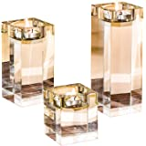 Amazing Home Candle Holders Set of 3, 2.3/3.9/5.5 inches Height Elegant Heavy Crystal Tealight Holder Clear Square Glass Cube