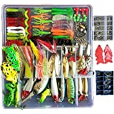 Topconcpt 275pcs Freshwater Fishing Lures Kit Fishing Tackle Box with Tackle included Frog Lures Fishing Spoons Saltwater Pen