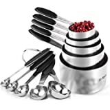 Measuring Cups : U-Taste 18/8 Stainless Steel Measuring Cups and Spoons Set of 10 Piece, Upgraded Thickness Handle (Black)