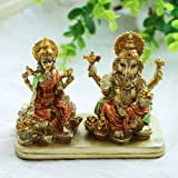 AliKiki Hindu Lord Ganesha Lakshmi Statue – Indian God Laxmi Ganesh Murti Item Home Temple Puja Pooja Idol Diwali Gift - Indi