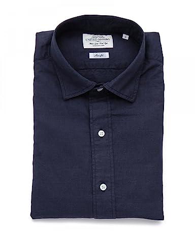 Cotton Linen Plain Wide Spread Collar Shirt 1111-176-0634: Navy