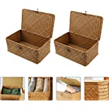 Bestonzon 2PCS Straw Woven Storage Baskets Bin Seagrass Box with Handles for Shelves Box Organizer for Nursery Kids Toddlers