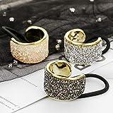 DEEKA Rhinestone Glitter Ponytail Cuffs Elastic Band Pack of 3 for Women
