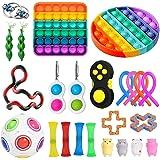 KKPLZZ Fidget Toy Set, Stress Relief Fidget Toys Pack,Sensory Fidget Toys Pack for Kids Adults Fidget Kit with Rainbow Pop Se