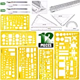 Keadic 12 Pieces Plastic Drawing Template Ruler Kit with Aluminum Architect Scale, Measuring Templates Building Geometric Dra