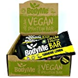 BodyMe Organic Vegan Protein Bar | Raw Turmeric Lemon | 12 x 60g Vegan Protein Snack Bars | Gluten Free | 16g Complete Protei