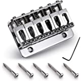 6 String 65MM Metal Fixed Hardtail Saddle Bridge Top Load Guitar Tailpiece for Fender Strat Tele Electric Guitar Chrome