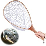 Fishing Net with Wooden Frame Rubber Mesh, Safe Catch and Release Fly Fishing Landing Net for Sea, River, Stream Fishing