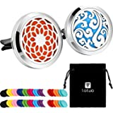 Tatuo 2 Pieces 316L Stainless Steel Car Aromatherapy Essential Oil Diffuser Air Freshener Vent Clip Locket with 48 Pieces Fel