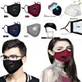 4 Pack Reusable Face_Mask with Breathing Valve,Adjustable Face_Mask with 8 Filters,Breathable Cotton Facemasks with Nose Wire