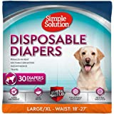 Simple Solution True Fit Disposable Dog Diapers for Female Dogs | Super Absorbent with Wetness Indicator | L/XL | 30 Count