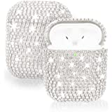 Axbety Glitter Airpods Case Luxury Bling Diamond Hard Protect Cover for Airpods 2 & 1Split Type (Silver)
