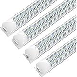 8FT LED Shop Light Fixture, 72w 7200 Lumens 6000K Cool White,High Output Tube Light, Double Sided V Shape T8 Integrated 8 Foo
