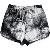Verdusa Women's Tie Dye Knot Front Elastic Waist Loungewear Workout Dolphin Shorts