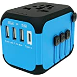 Jollyfit International Universal Travel Adapter Type C and 3 USB Charger Power Wall Plug US UK AU EU Worldwide 150 Countries