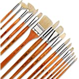 Artify 15 pcs Professional hog hair Paint Brush Set Perfect for Oil Painting with a Free Carrying Box for artists and enthusi