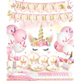 Decorlife Unicorn Birthday Party Supplies, Party Decorations for Girls, 163PCS Serves 16, Photo Backdrop, Unicorn Tablecloth,