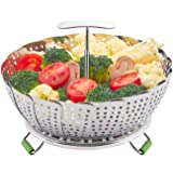 LHS Food Steamer Basket, Stainless Steel Kitchen Steamer Collapsible Steamer, Insert for Veggie Fish Seafood Cooking, Expanda