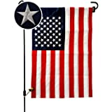 VIEKEY American Flag US Flag 12.5 x 18 Inch Double-Sided Embroidered Stars Sewn Stripes Quality Oxford Nylon (Only Flag)