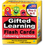 TestingMom.com Gifted Learning Flash Cards Following Directions for Pre-K Kindergarten Educational Practice for CogAT Test, I