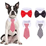 PAWCHIE 4 PCS Adjustable Pet Bow Tie Costume Necktie Collar Set with Hook & Loop Design for Small Dogs Puppy Cat Costume
