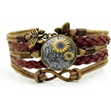 Sunflower Leather Bracelets for Womens Present You Are My Sunshine Bracelets for Mother Teen Girls Birthday Gifts