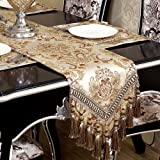 Grelucgo Super Large Luxury Thick Lined Damask Table Runners with Multi-Tassels (12x144 inch)