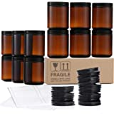 12 Pack, 8 OZ Amber Round Glass Jars with 12 Metal Lids & 12 Plastic Lids - Empty Candle Jar, Food Storage Containers, Cannin