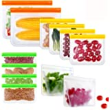 Reusable Storage Bags, PEVA Ziplock Sandwich Bag, Airtight Leakproof Freezer Bags for Lunch Snacks, Fruit Cereal Marinate Mea