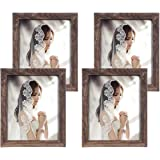 Q.Hou 6 Pack Picture Frames, Rustic Brown Wood Pattern Photo Frame with High Definition Glass for Tabletop or Wall Mounting D