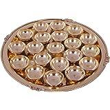 SHIV SHAKTI ARTS Handmade Pure Set of 20 Brass Diya Pooja Thali Set 21 pcs (1 Pooja Thali Embossed karvi Designed +20 Brass d