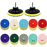Tanzfrosch 4 inch Diamond Polishing Pads Set Wet/Dry Polishing Kit 10pcs 50#-3000# Grit Pads with 2pcs Hook and Loop Backer P