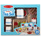 Melissa & Doug 9843 22-Piece Steep and Serve Wooden Tea Set - Play Food and Kitchen Accessories
