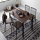 ダイニング セット 5点 テーブル 110cm チェア 4脚 ブラウン ブラック シンプル モダン ヴィンテージ 木製 スチール デザイン 4人掛け