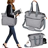 Luxja Breast Pump Tote with Pockets for Laptop and Cooler Bag, Breast Pump Bag for Working Mothers (Fits Most Major Breast Pu