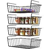 Under Shelf Basket, Veckle 4 Pack Wire Rack Hanging Shelf Basket Under Shelves for Storage Slide-in 4 Pack Black