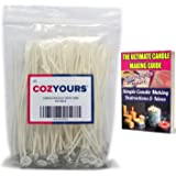 CozYours 100pcs 15cm 100% NATURAL COTTON CORE CANDLE WICKS WITH TABS FOR CANDLE MAKING, LOW SMOKE, perfect for making votive,