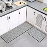 Gray Kitchen Mats for Floor,PVC Cushioned Anti-Fatigue Comfort Mat,2 Piece 0.47in Super Thick Kitchen Rugs【59In】 for Kitchen