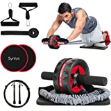 Syntus Newly 10-in-1 AB Wheel Roller with Knee Pads Resistance Bands Handles Grips Adjustable Skipping Jump Rope Core Sliders