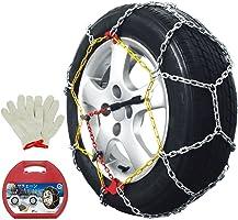 FIELDOOR タイヤチェーン (作業用手袋付) 【KN-80】 ジャッキアップ不要 取付簡単 亀甲型 コンパクトケース収納 (TUV / GS規格認証)