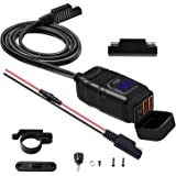 Vemote Motorcycle USB Phone Charger, Waterproof SAE to USB Adapter Dual Port QC 3.0/2.0, Voltmeter & ON/Off Switch & Fuse,Qui