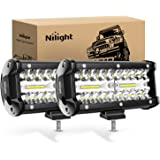 Nilight LED作業灯 デッキライト 120W作業灯 2個セット LED投光器 ワークライト投光器120w 12v-24v 兼用 防水 防塵 防震 取付け自由 省エネルギー 各種作業車に対応 前照灯