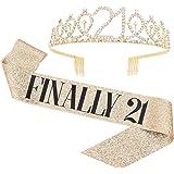 """Finally 21"" Sash & Rhinestone Tiara Set - 21st Birthday Gifts Birthday Sash for Women Fun Party Favors Birthday Party Suppli"