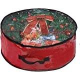"""Propik Xmas Wreath Storage Bag 24"""" - Garland Holiday Container with Clear Window - Tear Resistant Fabric - 24"""" X 24"""" X 8"""" (Re"""